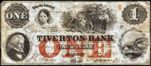 Tiverton Bank Note - 1857
