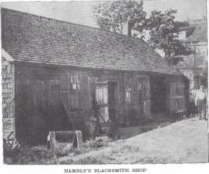 Edwin Hambly's Blacksmith Shop (across from 1784 Main Road; destroyed by 1938 Hurricane)